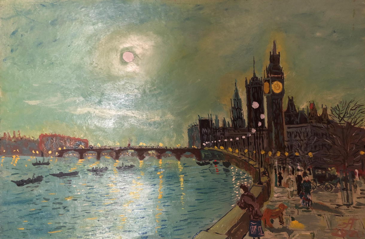 Sergey Vladimirovich Sebini. A variation on the theme of Atkinson Grimshaw's Reflections on the Thames, Westminster.