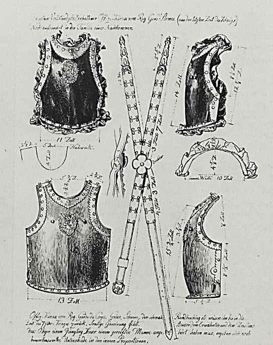 """Адольф фон Менцель. Отдельный оттиск из издания: """"Армия Фридриха Великого и её униформа"""", Офицерская кираса, вид спереди и сбоку"""