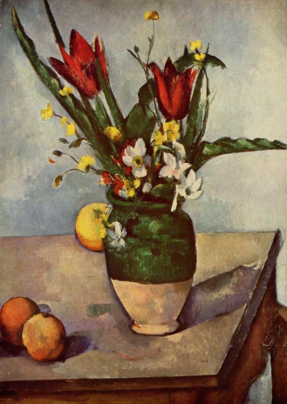 Поль Сезанн. Натюрморт с тюльпанами и яблоками
