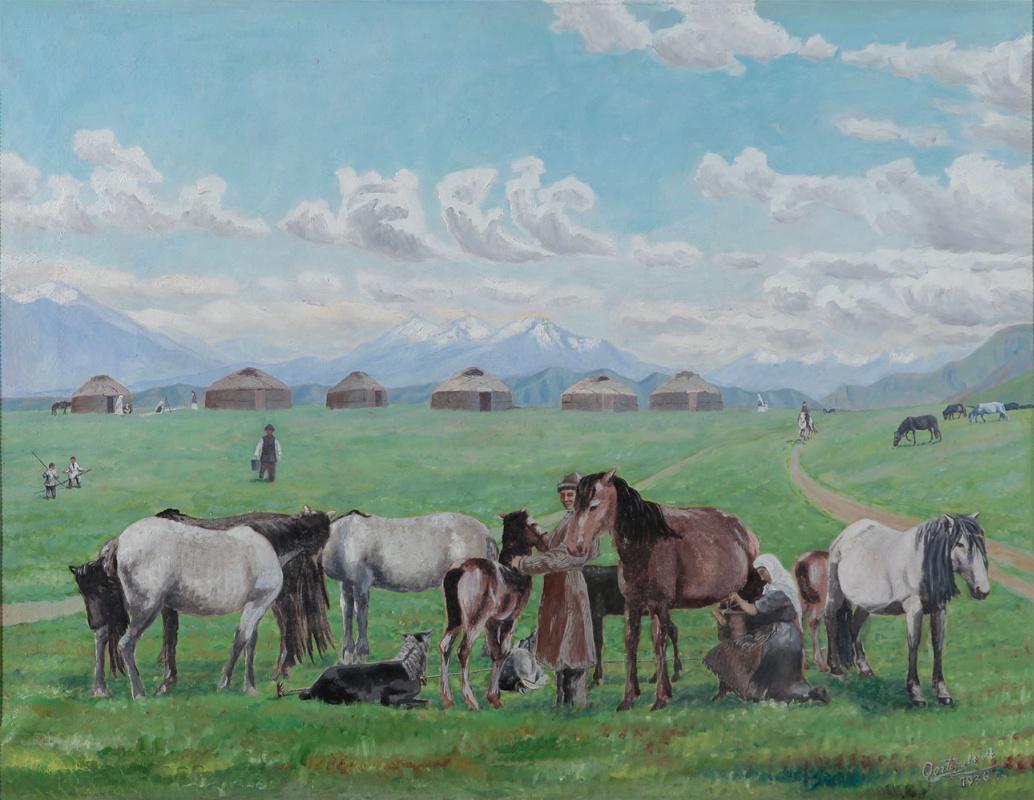 Abylkhan Kasteevich Kasteev. Milking mares