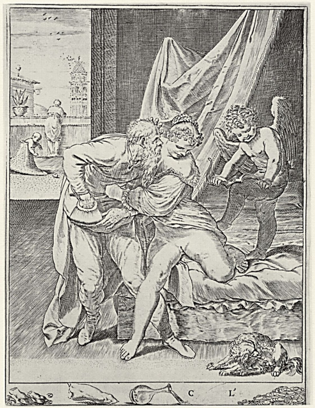 Agostino Carracci. Series Lust, wins All the gold