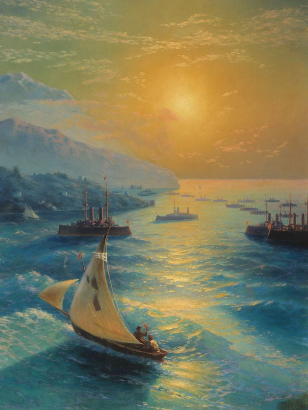 Ivan Constantinovich Aivazovski. Ships at the Feodosiya roadstead. Honoring Aivazovsky on the occasion of his 80th birthday