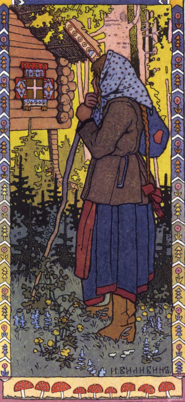 """Ivan Yakovlevich Bilibin. The maiden in the forest. Illustration for the fairy tale """"Finista Jasna-Sokol"""""""