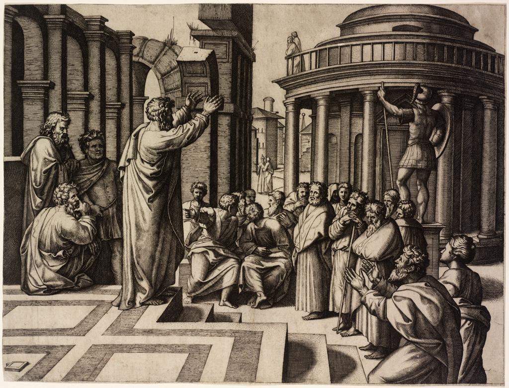 Маркантонио Раймонди. Апостол Павел проповедует в Афинах