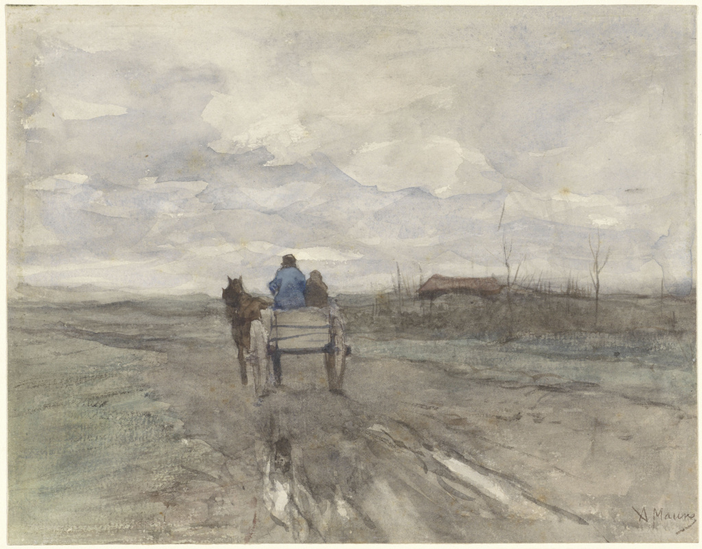 Anton Maouve. A cart on a country road