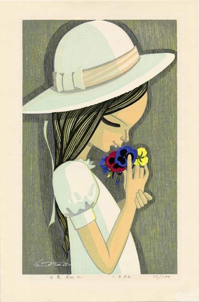 Шузо Икеда. Девочка в шляпе с цветами