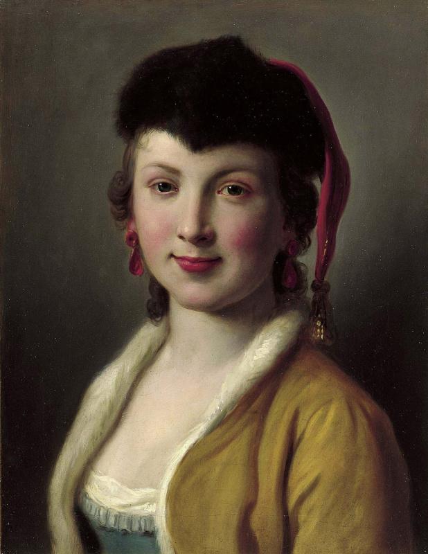 Портрет женщины с золотой курткой, меховой шапкой с золотой кисточкой