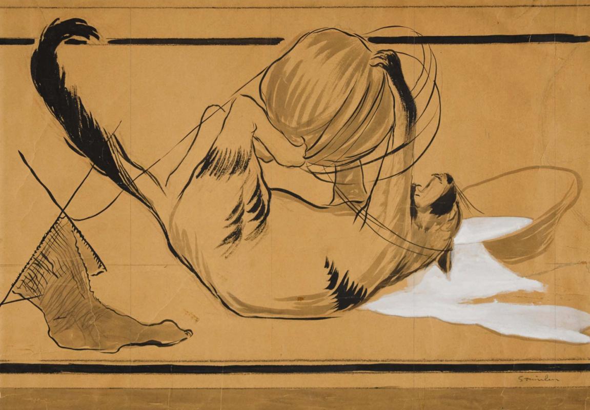 Theophile-Alexander Steinlen. Battle: kitten and knitting