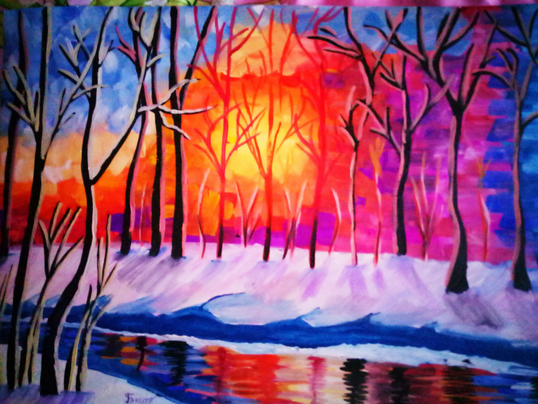Polina Bestuzheva. Sunset in late winter