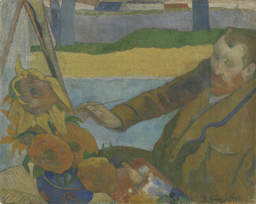 Paul Gauguin. Portrait of Vincent van Gogh painting sunflowers