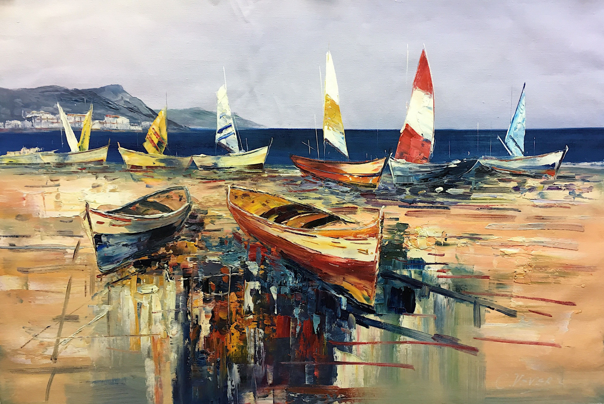 (no name). Multicolored boats on the beach N2
