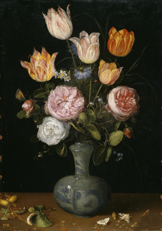 Jan Bruegel The Elder. Flowers in a vase and butterflies