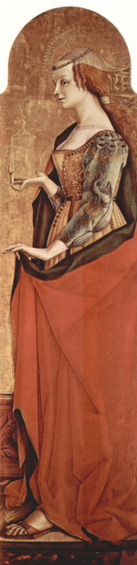 Карло Кривелли. Святая Мария Магдалина. Алтарный полиптих церкви Сан Франческо в Монтефиоре дель Ассо, правая створка внешняя сторона