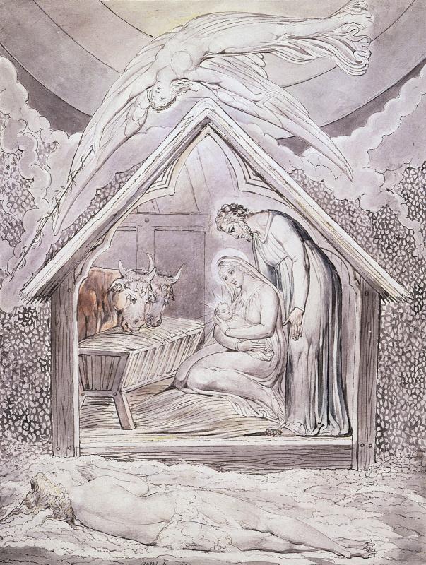 """Уильям Блейк. Сошествие Мира. Иллюстрация к поэме Мильтона """"Утро Рождества Христова"""""""