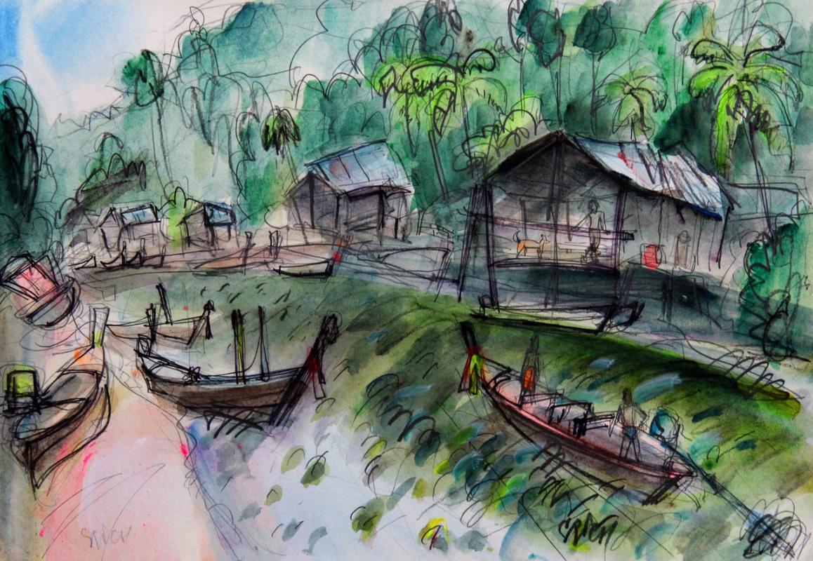 "Ilya Pavlovich Spichenkov. Fishing village. From the series ""PATONG 2019"""