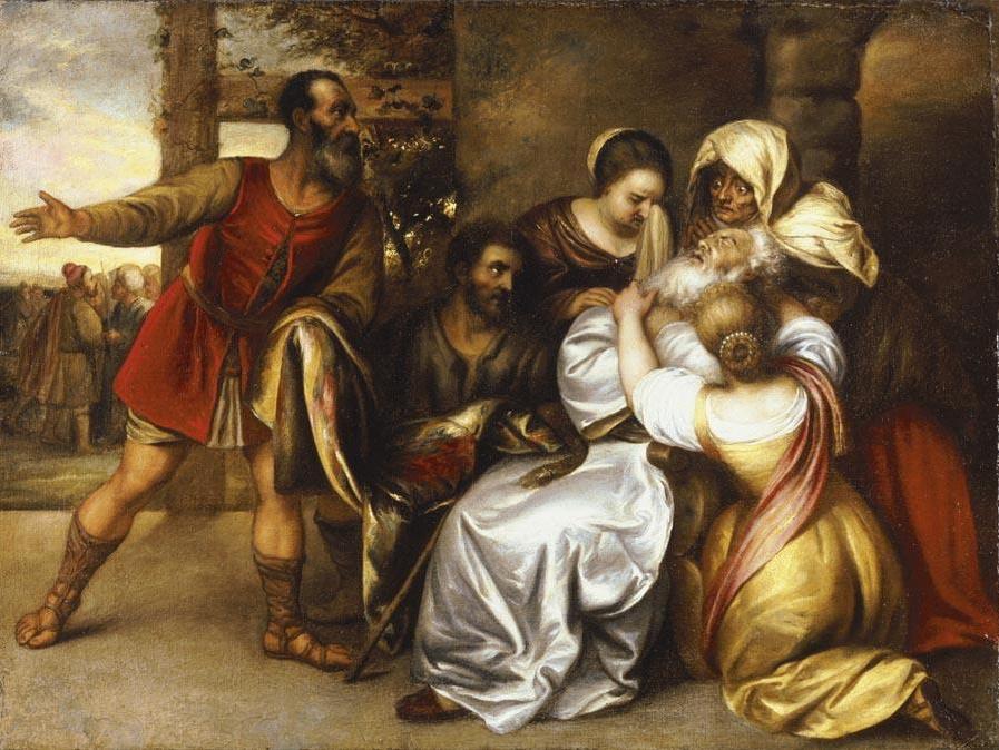 Jan Lievens. Jacob receives the bloody tunic of Joseph