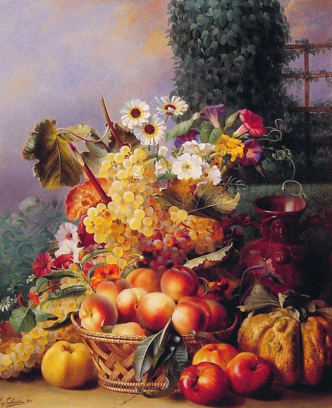 Эжен Адольф Шевалье. Натюрморт с цветами и фруктами