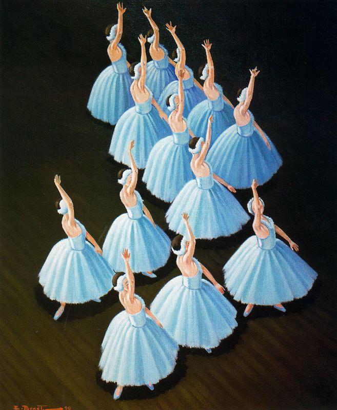 Emilio Bonet Casanova. Ballerina in blue dresses