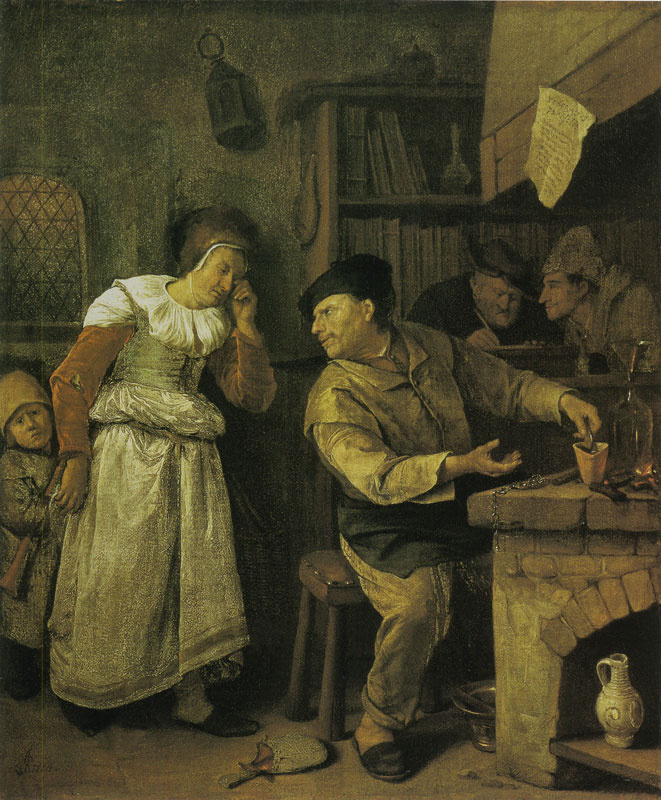 Jan Steen. The notary and the woman giving jewelry to a pawn