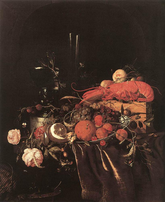 Jan Davids de Hem. Still life with fruit, flowers, glasses and lobster