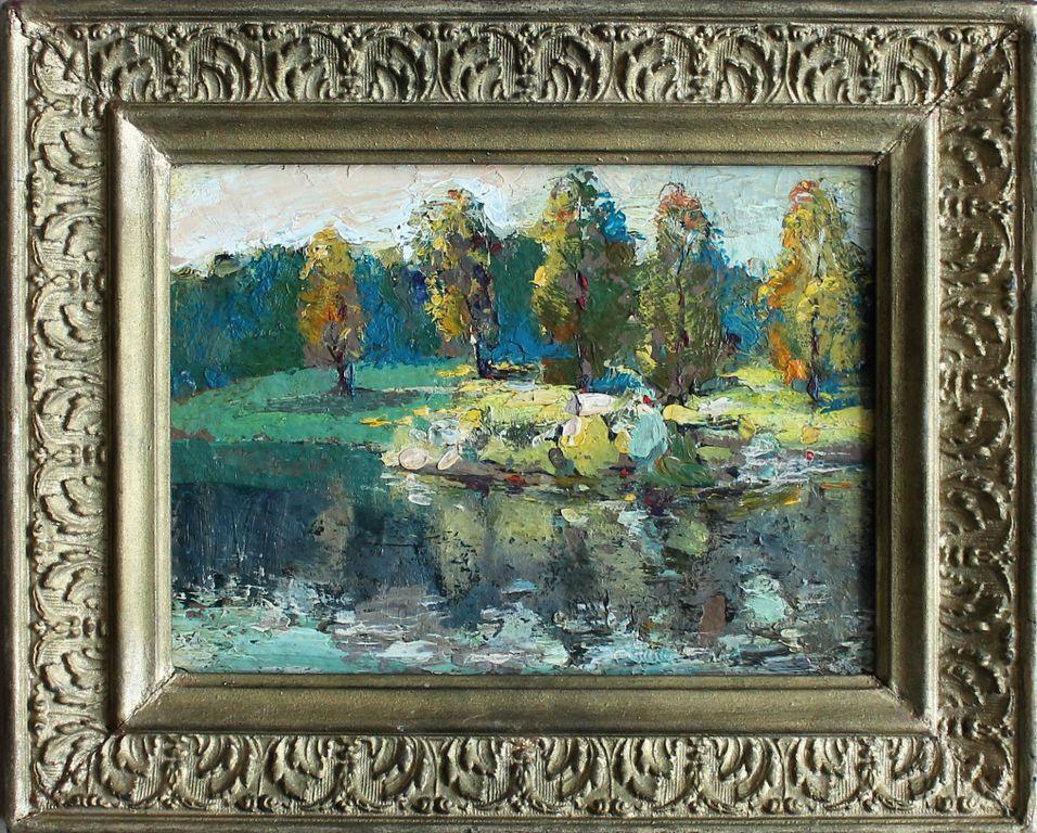 Valery Vasilievich Ilyushkin. Pine glade. Pond. Island of love