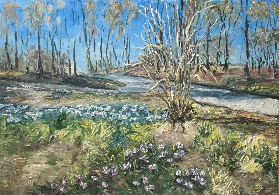 "Sophia Vinogradova. Painting ""Snowdrops in a boring garden"" (oil on canvas spring flowers trees sky garden park path grass sun Moscow bush thaw snowdrops boring garden melting snow city cityscape)"