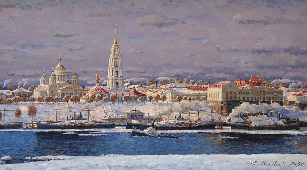 Alexander Victorovich Shevelyov. Cathedral and stock exchange. Winter. Oil on canvas 45, 4 x 76, 5 cm 2013