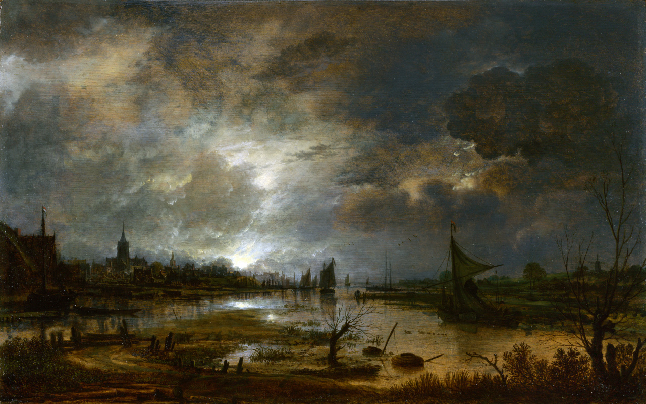 Art van der Ner. The river near the city, in the moonlight