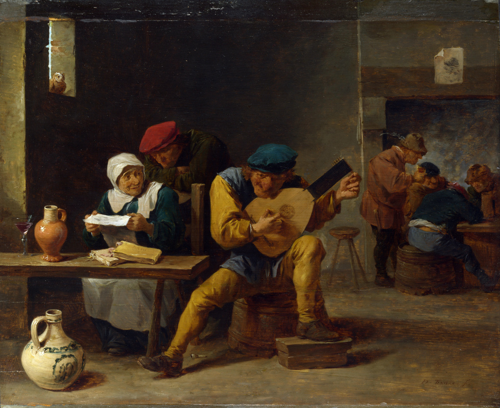 David Teniers the Younger. The peasant playing the hotel