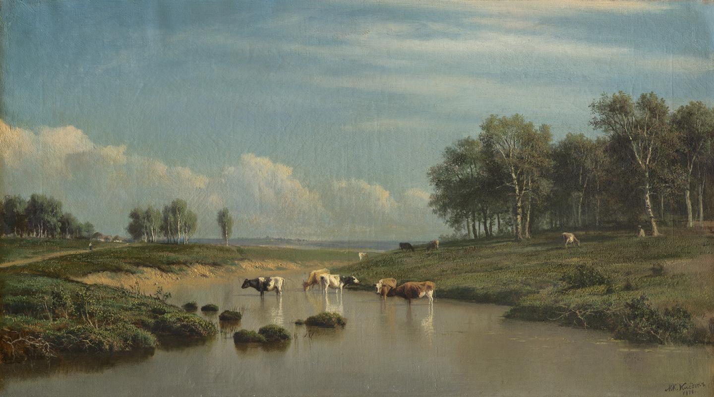 Mikhail Konstantinovich Klodt. Landscape with cows