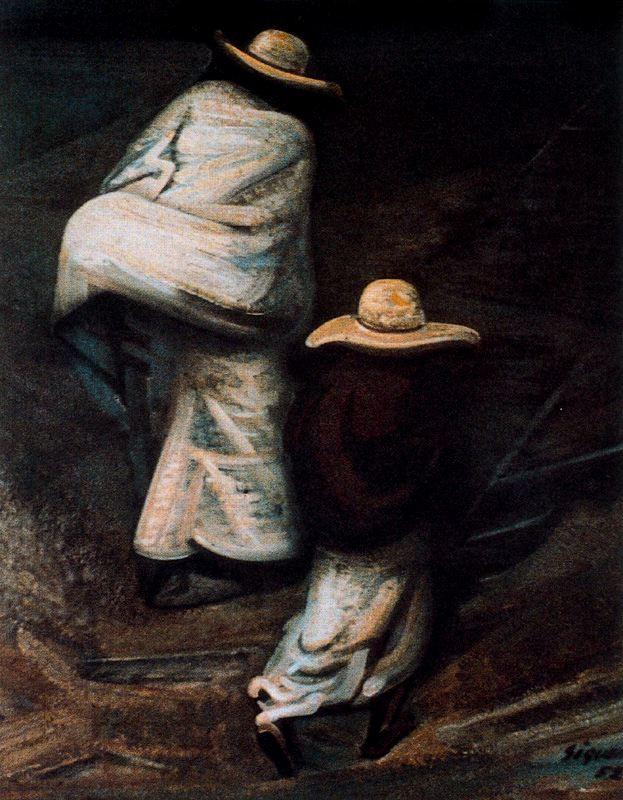 Хосе Давид Альфаро Сикейрос. Люди в шляпах