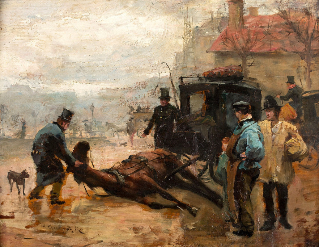 Alexander Gerymski. Paris street scene