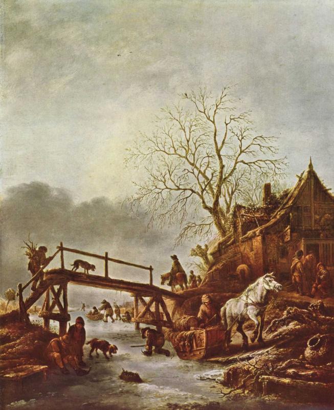 Исаак ван Остаде. Таверна на замерзшей реке