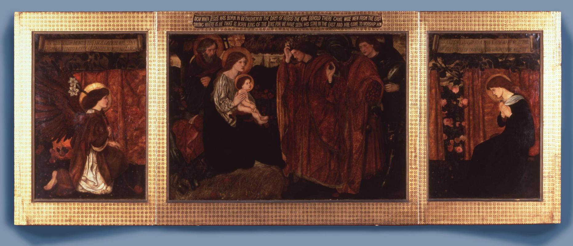 Edward Coley Burne-Jones. Поклонение волхвов и пастухов (центр). Благовещение (правая створка)