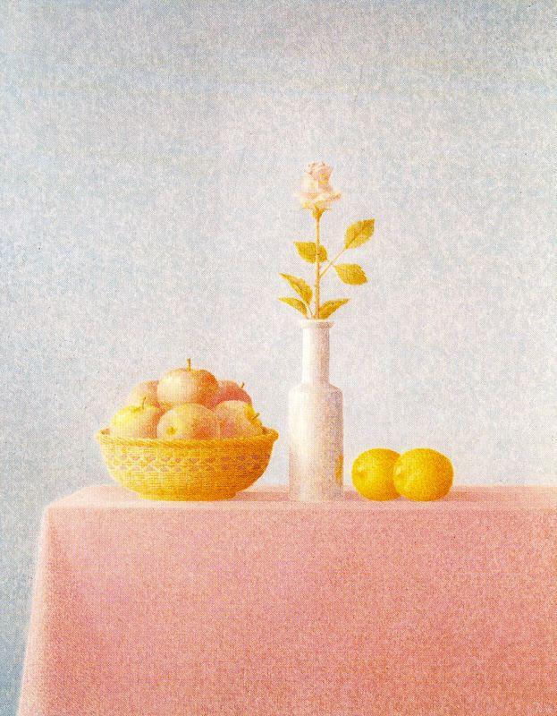 Javier Waltz. Still life of apples, lemons and a rose in a vase