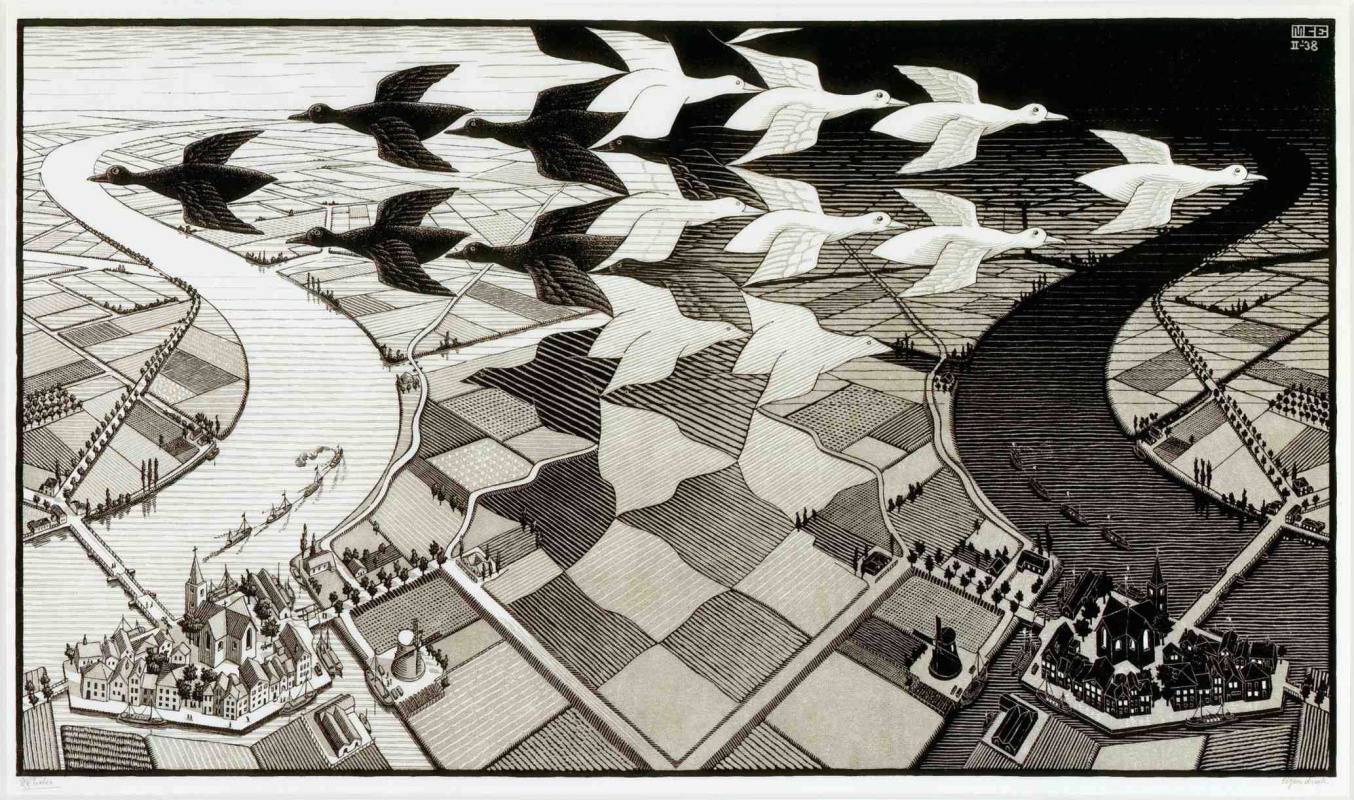 Maurits Cornelis Escher. Day and night