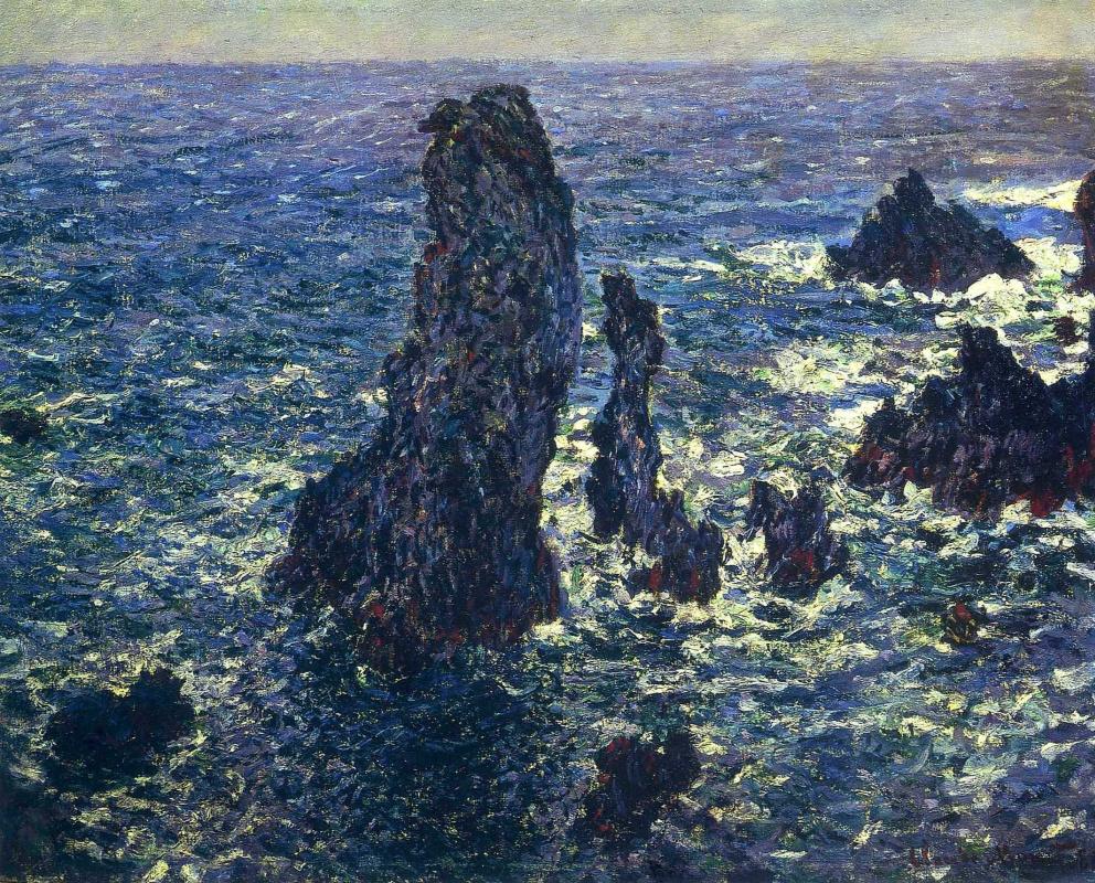 Клод Моне. Скалы в Бель Иль (Пирамиды Порт-Котон. Бурное море)