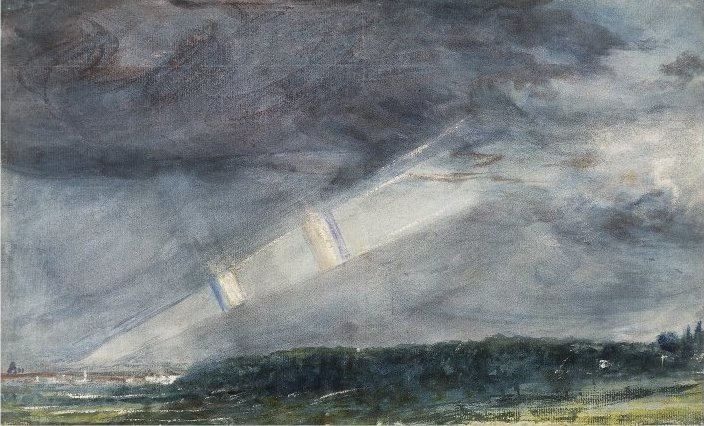 John Constable. Views of London from the Hempstead Heath in stormy weather