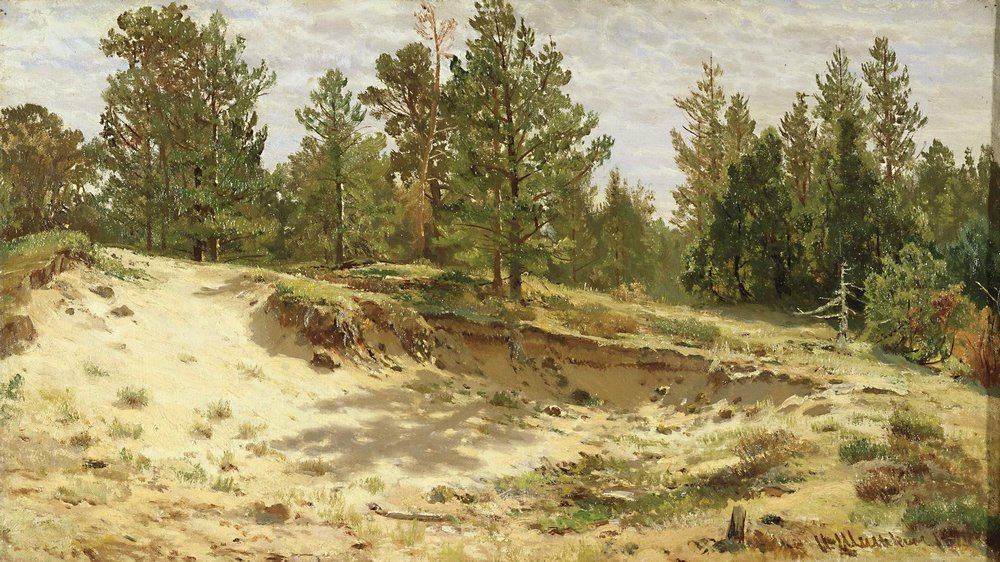 Ivan Shishkin. Young pines on the sandy cliff. Mary Howie on Finnish Railways