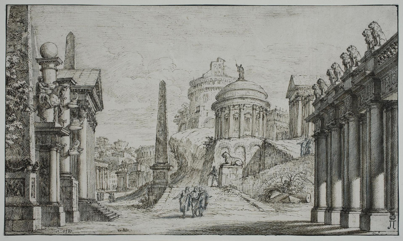 Giuseppe Valeriani. Architectural composition with the round temple in the center and obelisks in the left part