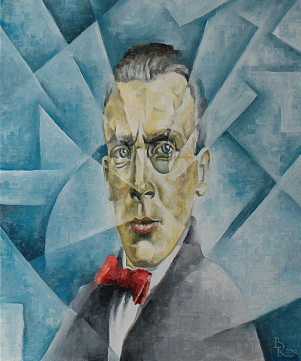 Vasily Krotkov. A Portrait Of Bulgakov. Kubofuturizm