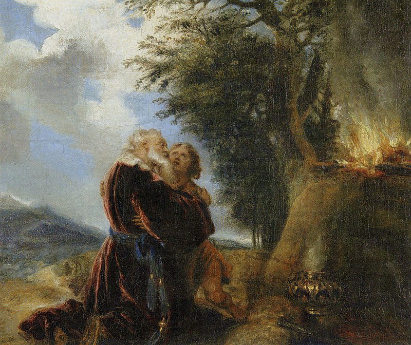 Jan Lievens. Abraham and Isaac in prayer