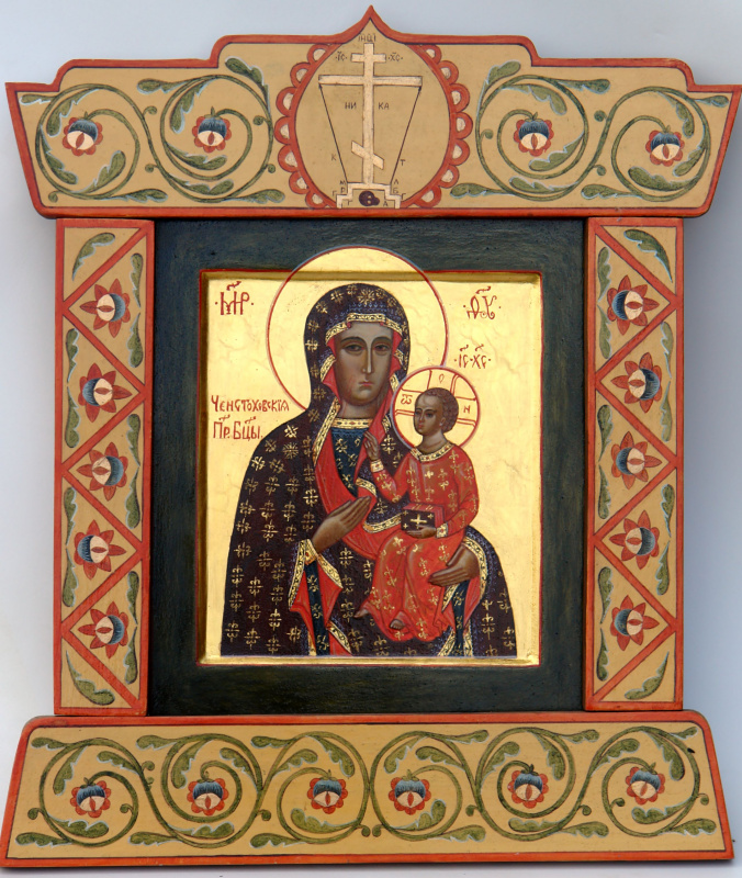 Moscow Icon Painting Workshop. The icon of the virgin of Czestochowa in rospisnoy Kyoto