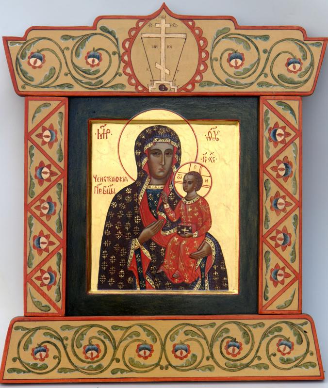 Икона Богородицы Ченстоховская в росписном киоте