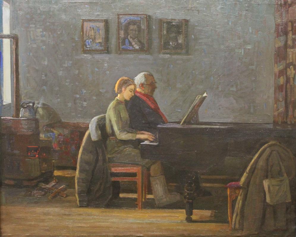 Eugene Alexandrovich Kazantsev. Music lesson. 1941 g.