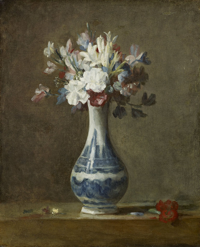 Jean Baptiste Simeon Chardin. Flowers in a blue and white vase