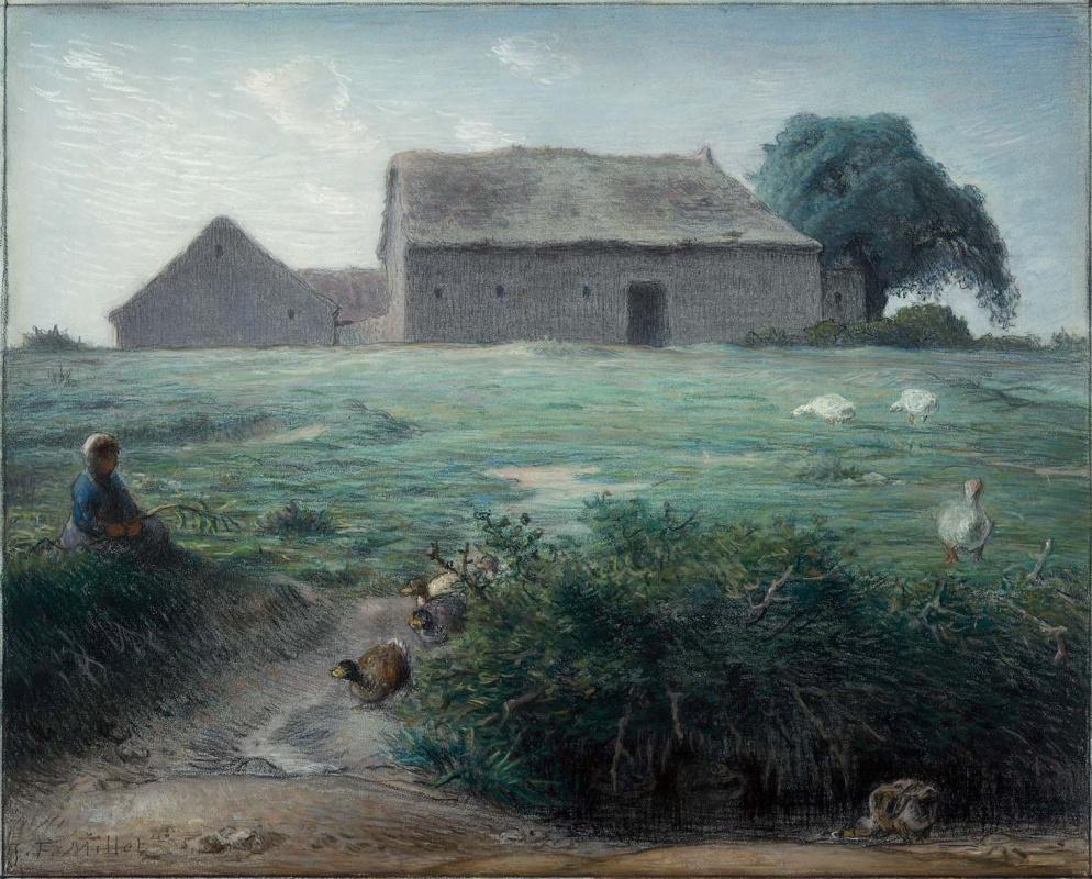 Jean-François Millet. Little Cowgirl Geese