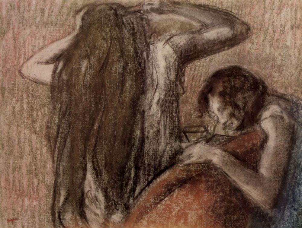 Эдгар Дега. Две девушки, читающая и расчесывающая волосы