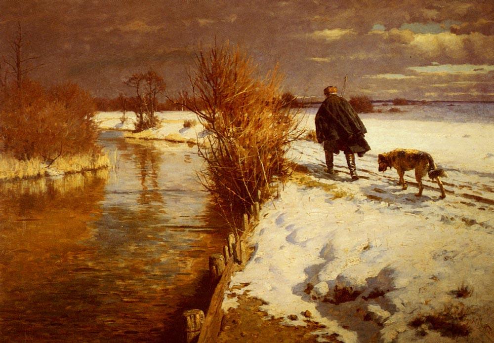 Hermann Hartwick. Hunter in a winter landscape