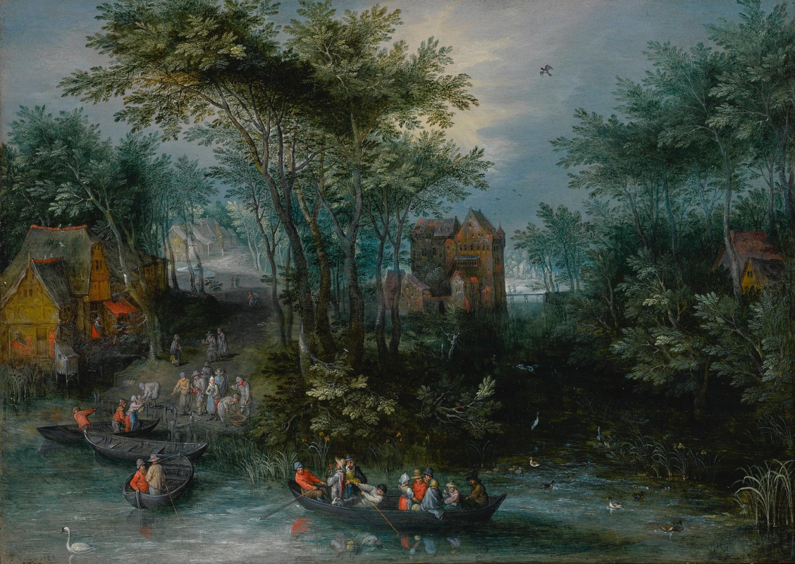 Jan Bruegel The Elder. Forest landscape with peasants in a boat